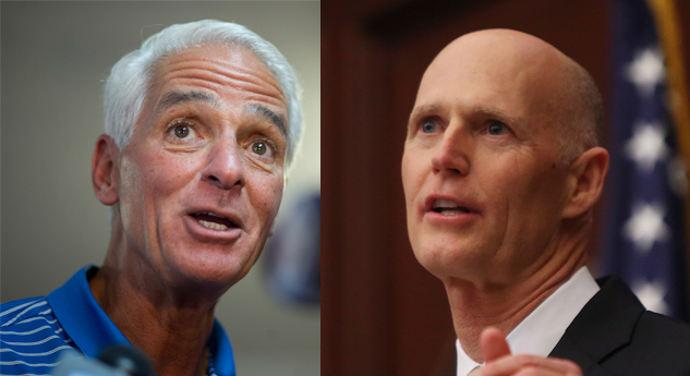 Charlie Crist, left, and Rick Scott have traded barbs on the airwaves. (AP, Times file photos)