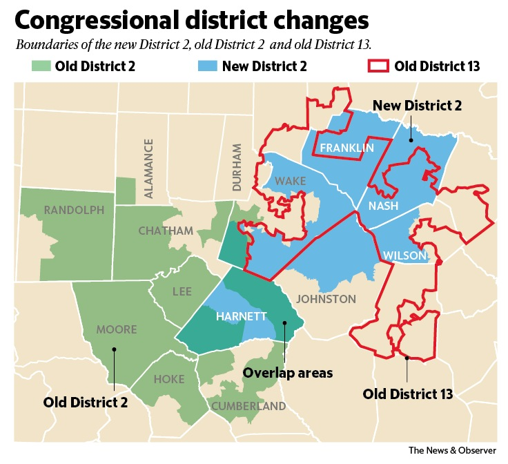 In North Carolinas 2nd District A Fight Over Residency And - North-carolina-map-of-us