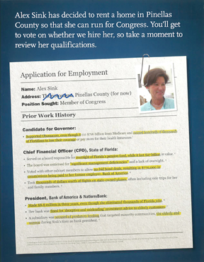 The Republican Party of Florida mailer, designed to look like a job application, uses most of the GOP's attacks on Alex Sink during the campaign.