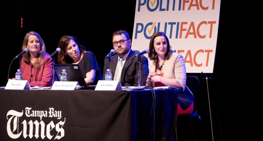 The staff of PolitiFact speaking at an event in St. Petersburg, Fla., in March 2016. (Boyzell Hosey/Tampa Bay Times)