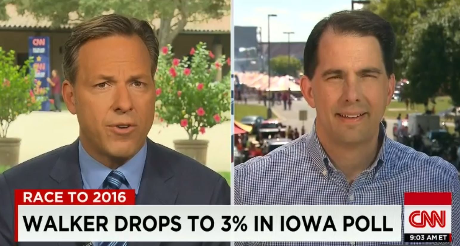 "Gov. Scott Walker, R-Wis., talked about his record in an interview with Jake Tapper on CNN's ""State of the Union."" (Screengrab)"