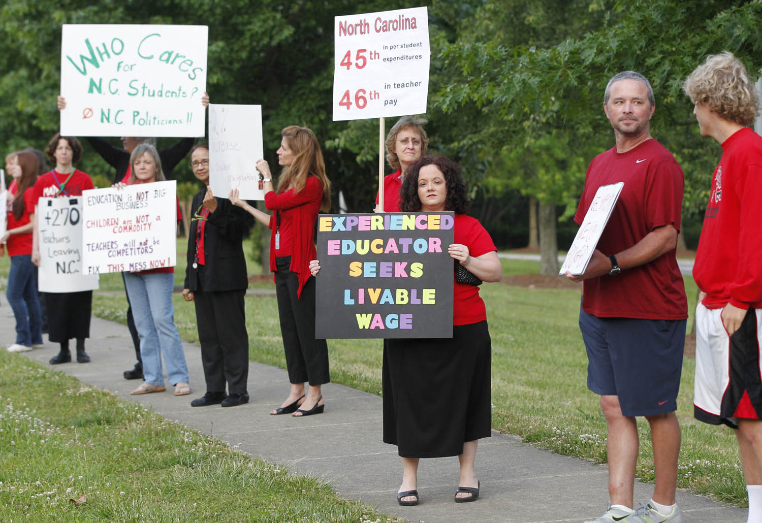 Teachers in Apex, North Carolina protest for higher pay in 2014