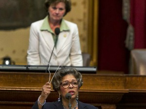 Rep. Senfronia Thompson, D-Houston, warns of abortions proving unsafe if GOP-steered legislation passes into law, House floor debate June 23, 2012 (Austin American-Statesman, Rodolfo Gonzalez).