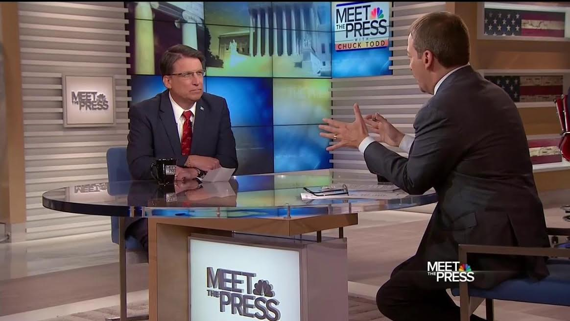 """N.C. Gov. Pat McCrory defended his state's HB2 on """"Meet the Press"""" April 17 in an interview with Chuck Todd. (NBC News)"""