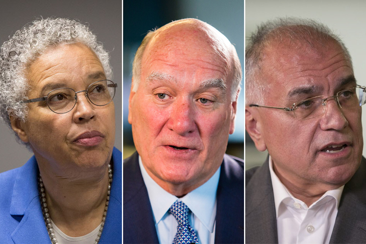 Mayoral hopefuls Toni Preckwinkle (left), Bill Daley and Gery Chico. (Preckwinkle and Chico: Rich Hein/Chicago Sun-Times; Daley: James Foster/Chicago Sun-Times)