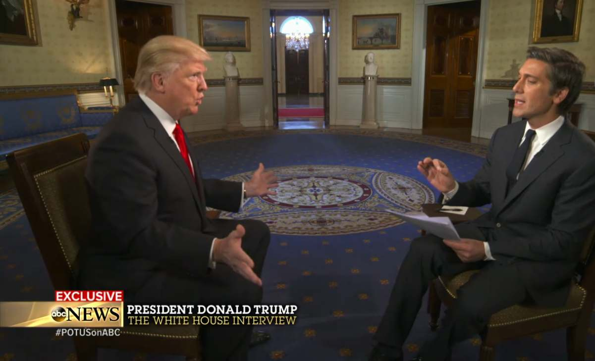 """On Jan. 25, 2017, ABC News """"World News Tonight"""" anchor David Muir interviewed President Donald Trump in the White House."""