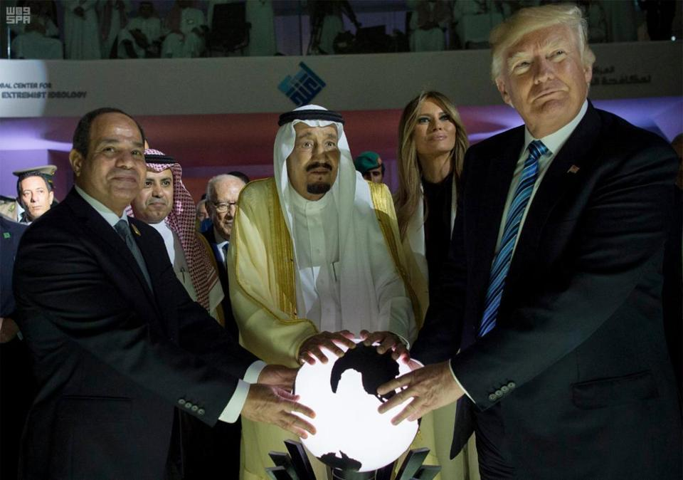 Egyptian President Abdel Fattah al-Sissi, Saudi Arabian King Salman, and President Donald Trump attend the opening ceremony for the Global Center for Combating Extremist Ideology in Saudia Arabia in May 2017. (Saudi Press Agency)