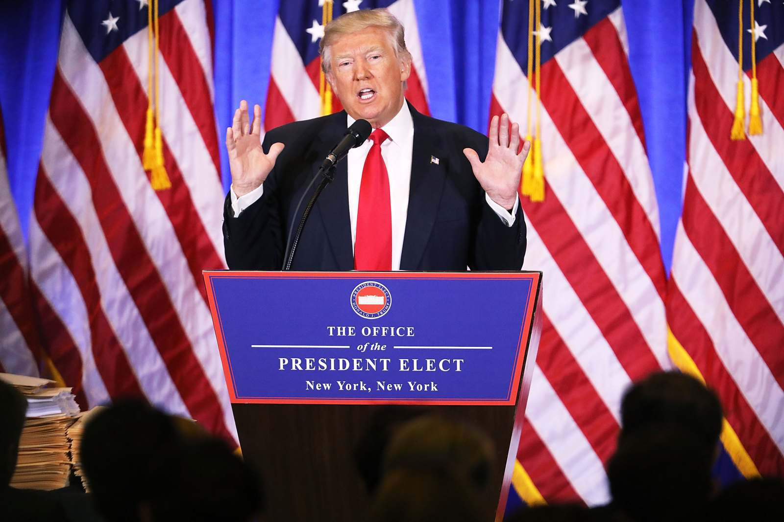 President-elect Donald Trump gave his first press conference in months Jan. 11 at the Trump Tower in New York. (Photo by Spencer Platt/Getty Images)