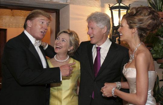 Hillary Clinton at Donald Trump's wedding
