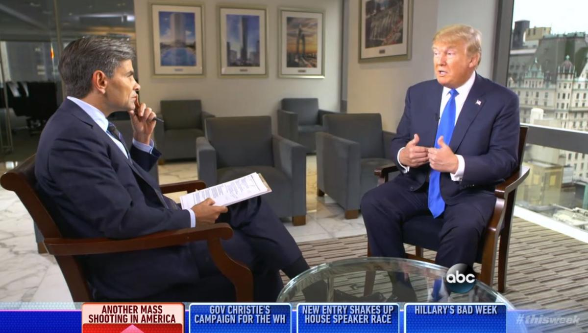 "George Stephanopoulos questions Donald Trump about his plan to send back Syrian refugees if elected president on the Oct. 4, 2015, edition of ABC ""This Week."" (Screengrab)"