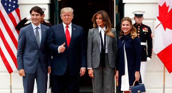 President Donald Trump and first lady Melania Trump welcome Canadian Prime Minister Justin Trudeau and his wife Sophie Gregoire Trudeau to the White House on Oct. 11, 2017. (AP/Pablo Martinez Monsivais)