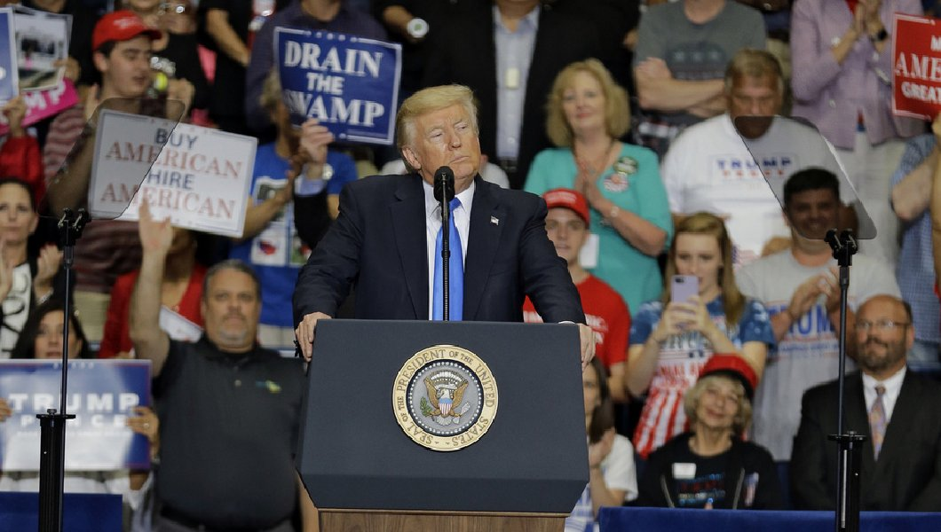 "President Donald Trump called Obamacare a ""nightmare"" at a rally in Youngstown, Ohio days before the Senate rejected repeal. (AP)"