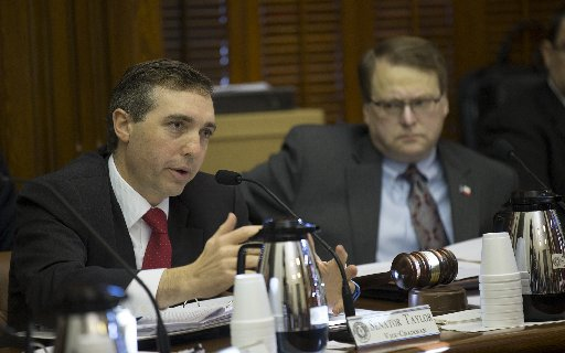 State Sen. Van Taylor (left) declared recently that he helped the Texas Senate advance the biggest tax cut in state history. Mostly False, we found. (Photo, Ricardo B. Brazziell, Austin American-Statesman).