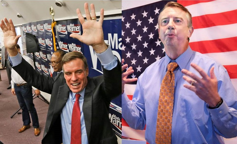 U.S. Sen. Mark Warner, D-Va., left, and Republican challenger Ed Gillespie speak at rallies during the last weekend of campaigning.