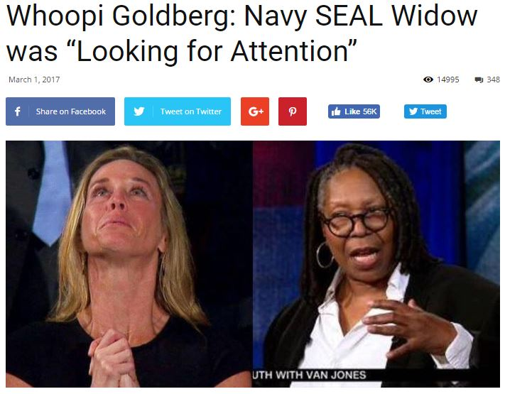A fake news story about Whoopi Goldberg chiding a Gold Star widow was made up by an Internet writer who said he wanted to see what people would believe without verifying it.